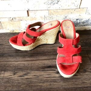 UGG Wedge Red Suede Platform Sandals